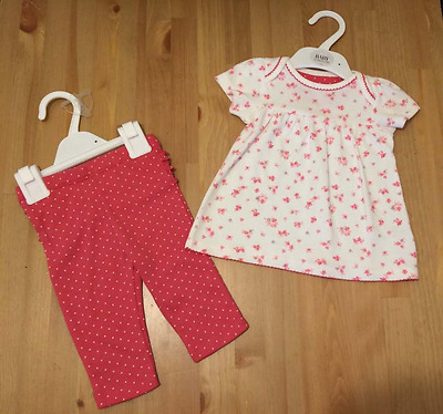 *new* M&s Baby Pure Cotton Pink Floral Top And Leggings Set 0-3 3-6 6-9 9-12