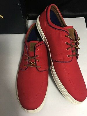 Men's Brushed Suede Red Polo Ralph Lauren Tennis Shoes  US Size 16 D New