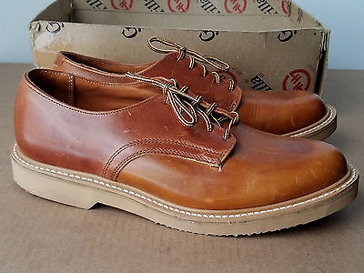 VTG 1970s Deadstock Gorilla HH West Work Oxford Shoes Tan 8.5 M USA Leather