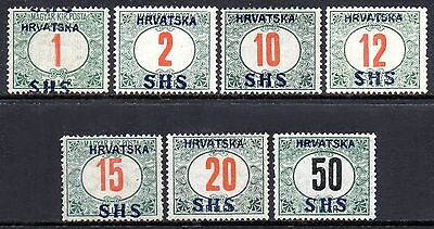 CROATIA 1918 Postage Due Issue Part-Set to 50f Fine MINT SG.D85/90 92