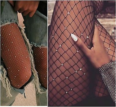 diamante embellished rhinestone crystal glitter medium diamond fishnet tights uk