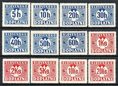 SLOVAKIA 1939 Postage Due Issue (No Watermark) Fine MINT NH Set Mi.P1/12 -- MNH