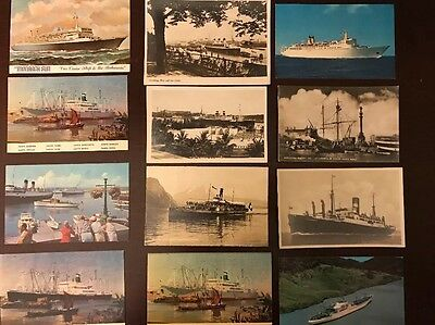 Vintage Lot Of 18 Early 1900's Boats and Steam Ship & Cruise Ships Postcards