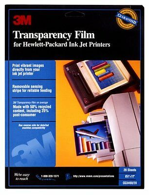 3M Transparency Film for HP Ink Jet Printers, CG3460, 21 Sheets Fast Shipping !!