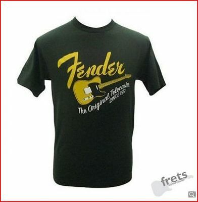 "Fender Green Telecaster T- shirt - Large / 44"" Chest - Gift Idea For Guitarist"