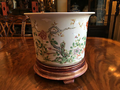 A Large Chinese Qing Dynasty Famille Rose Planter with Wooden Stand.