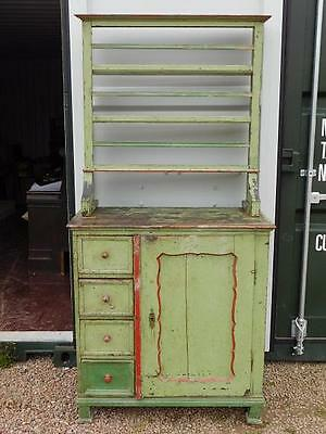 A Good Rustic Green Painted Antique Dresser On Cabinet