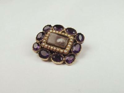 Victorian 9ct Yellow Gold Amethyst & Pearl Mourning Brooch