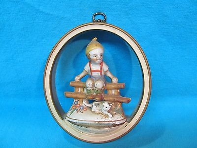 Vintage Porcelain Boy On Fence With Cat Figurine  Wall Mounted Plaque