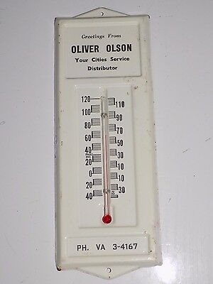 "Vtg MeTaL THERMOMETER ""OLiVER OLSON Your CiTiES SERViCE DisTribuTor"" phone VA"