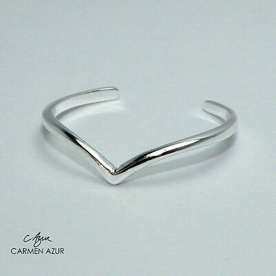 Solid 925 Sterling Silver Toe /Midi Ring Slim Heart Wishbone Design Inc Gift Bag