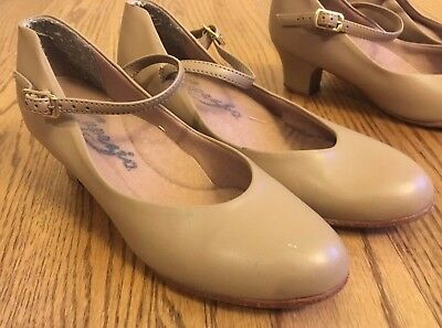 One pair CAPEZIO 550 TAN LEATHER SOLE CHARACTER BALLROOM DANCE SHOES 5 M