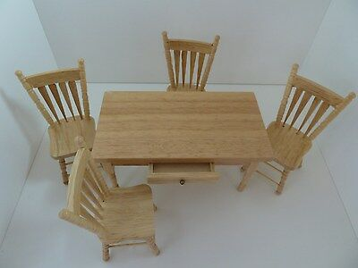 Dolls House Miniature 1:12th Kitchen Furniture Oak Table & 4 Chairs (Z44)