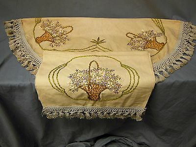 2pc Antique Hand Embroidered Basket Arts & Crafts Linen Table Topper Runner Set