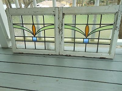 DUR-152 Very Pretty Older Leaded Stained Glass Window From England 2 Available