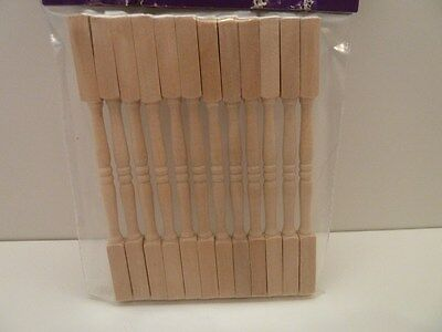 Dolls House Miniature 1:12th Scale Building 12 x Wooden Spindles For Stairs C40
