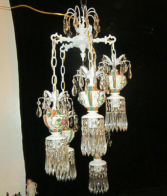 5L Vintage cabbage porcelain Brass Shabby peely hanging swag lamp chandelier