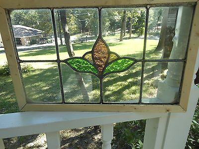 R202 Older Multi-Color Transom Style Lead Stain Glass Window F/England Reframed