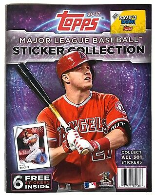 2017 Topps MLB Baseball Stickers Collection Album, New Mint, includes 6 Stickers