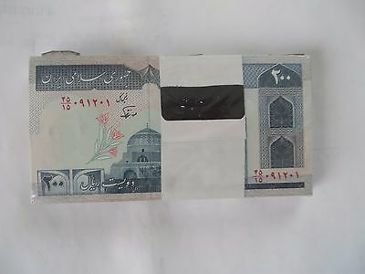 100 x 200  IRAN Rials, banknotes, Uncirculated Currency Central Bank