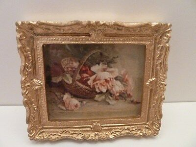 Dolls House Miniature 1:12th Scale Lounge Study Picture Roses in a Basket (Y194)