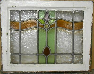 "OLD ENGLISH LEADED STAINED GLASS WINDOW Nice Floral Design 20.5"" x 16"""