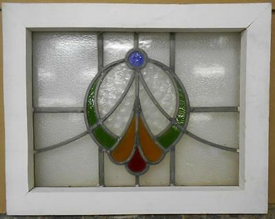 "OLD ENGLISH LEADED STAINED GLASS WINDOW Nice Circle Design 19.75"" x 15.5"""