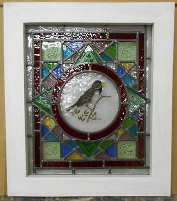 "OLD ENGLISH LEADED STAINED GLASS WINDOW Handpainted Bird 16"" x 18.25"""