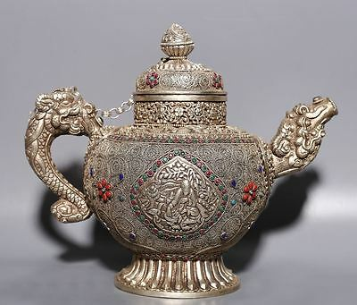 Amazing Rare Antique Chinese Old Sterling Silver Dragon Teapot A21