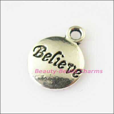 15Pcs Antiqued Silver Tone Round Believe Words Charms Pendants 11.5x15.5mm