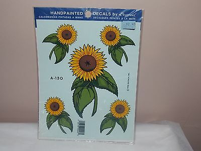 Vtg 1993 Decoral Handpainted Waterslide Decals Sun Flowers  A-130 New Old Stock