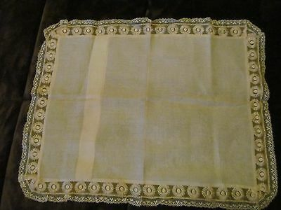 Antique/Vintage Sheer Lace Trimmed Ecru Pillowcase  Tagged R. N.