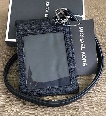 Michael Kors Men's Gifting Black Lanyard Card Id Holder Case With Gift Box