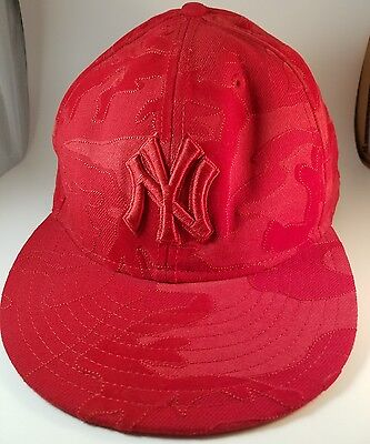 052866381d6 New York Yankees New Era 59Fifty Fitted Hat Sz 8 Red Ball Cap MLB Baseball