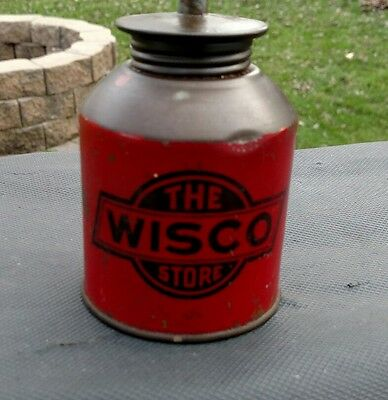 Vintage WISCO Handy Household Oiler Oil Can Madison Wisconsin Hardware Store Red