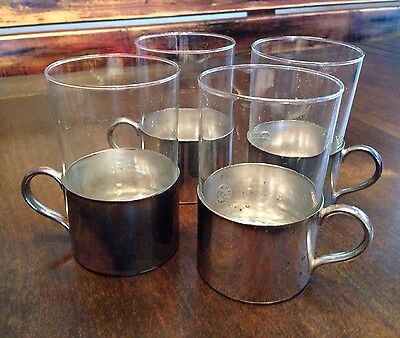 Vintage (4) WOLFF Brazilian Silver Plated Tea Cappuccino Glass Cups W/Sleeves