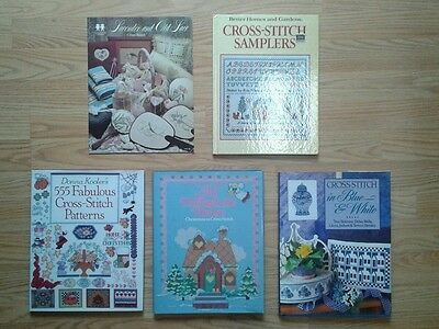 Lot of 5 Cross-Stitch Books (4 Hardcover, 1 Softcover)