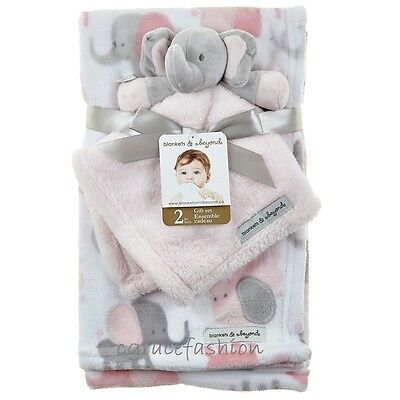 NWT Blankets and & Beyond Baby Girl Layette Pink Elephant Mink Nunu Security Set
