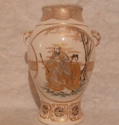 Old Japan SATSUMA MEIJI Floral People GOLD  Earthernware VASE Elephant Handles