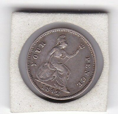 Early   Queen  Victoria  1842  Four  Pence  (Groat)  Coin  (92.5% Silver)