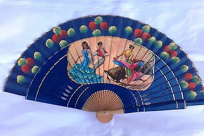 Vintage Hand painted Spanish Hand Fan Lapis Blue - Bullfighters Signed