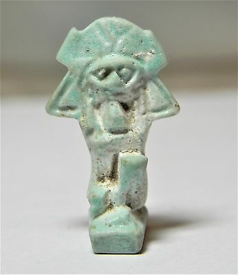 Zurqieh -Af1787-  Ancient Egypt , Large Faience Amulet Of Shu. 600 - 300 B.c