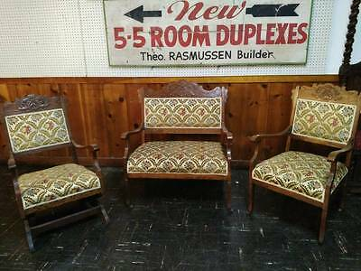 3 PC. Antique Oak American Renaissance Parlour Set Sofa 2 Chairs 1800's Parlor