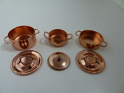 Dolls House Miniature 1:12th Scale Kitchen Shop Accessory 3 x Copper Dishes KA01