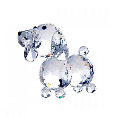 H&D 20mm Cut crystal dog animal figurine collection glass ornament new (White)