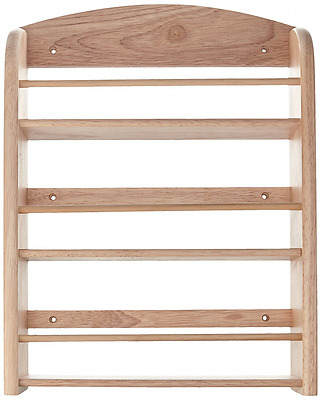 """""""Scimitar"""" 18 Jar Wall Spice Rack in Hevea with Fixings (Jars Not Included)"""