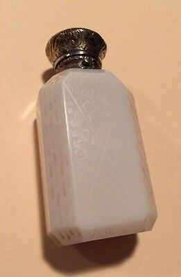 19c White Agate Opaline STERLING Silver Perfume Bottle Etched
