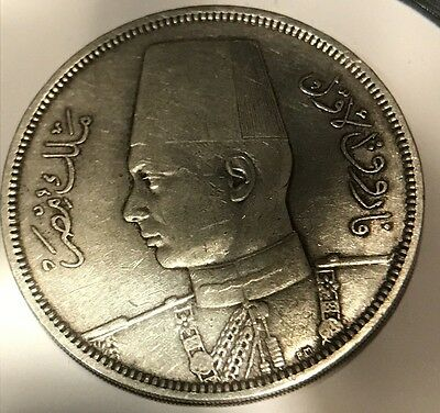 1939 Silver (14Grams) Egypt King Farouk 10 Piastres Coin: Scarce And Beautiful