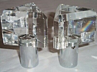 "2 Rare Vintage Triangular Areslux ""crystal"" Polished Chrome Faucet Handles"