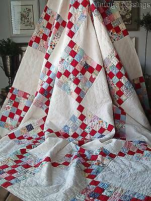 """Pretty Feedsacks! VINTAGE 30s Red Postage Stamp Chain QUILT 83"""" x 69"""""""